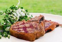 BBQ lamb loin chops with fennel tabbouleh