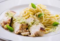 Chicken breast with pesto and cauliflower fettuccine