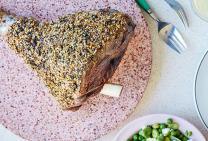 Dukkah crusted lamb leg
