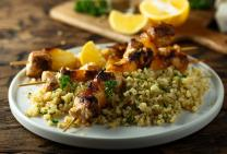 Grilled chicken kebabs with herbed bulgur