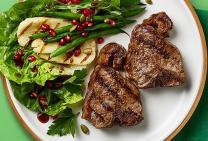 Lamb loin chops with haloumi & pomegranate salad