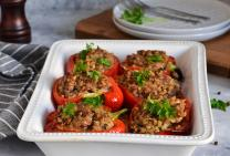 Roasted tuscan beef mince stuffed capsicums