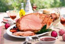 Raspberry glazed ham
