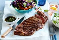 Rump steak with coriander sauce and asian slaw