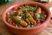 Beef sausage & spicy tomato casserole