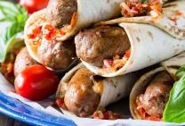 Grilled gourmet sausage wraps