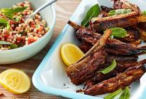 Spiced lamb ribs with lemon yogurt and couscous