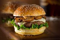 Swiss mushroom beef burger