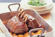 Veal rack with minted peas & roast pumpkin