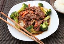 Marinated round steak & veg stir fry