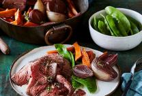 Beef bolar roast with mustard & red wine