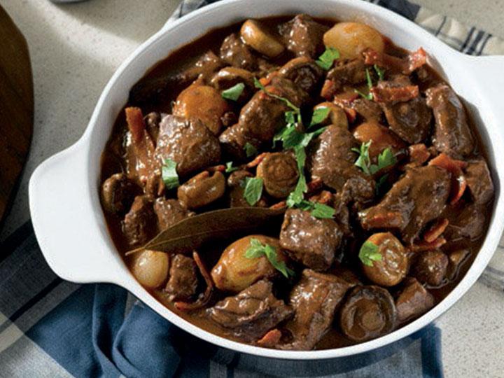French beef bourguignon casserole