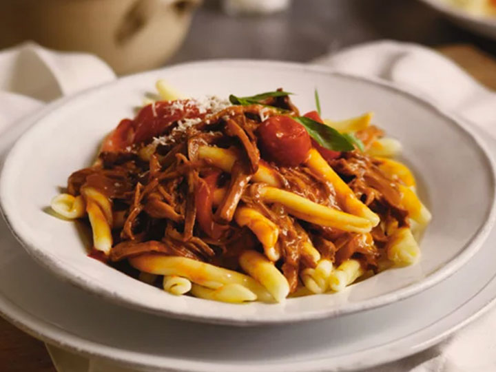 Slow cooked beef bolar blade ragout