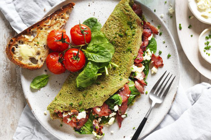 Ham & spinach omelettes with roasted tomatoes